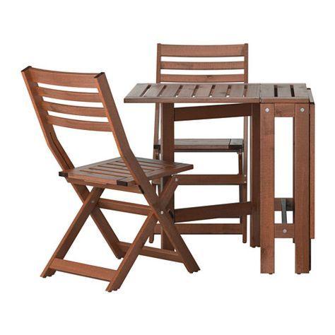 Sedie Pieghevoli Ikea Da Giardino.Applaro Tavolo 2 Sedie Pieghevoli Giardino Mordente Marrone