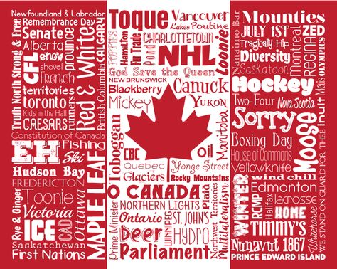 "Original artwork using words to describe ""CANADA"" -- Show off your Canadian pride in your home or office with this print that details the many words for all things Canada including Eh, Canuck, Mounties, Maple Leaf, True North and more. Come visit the Lexicon Delight Etsy store!"