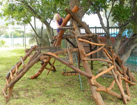 I'm usually not that big on the whole 'natural play spaces' thing because most of them look too much like workout equipment and don't have much room for imaginative play- but this one actually looks great!