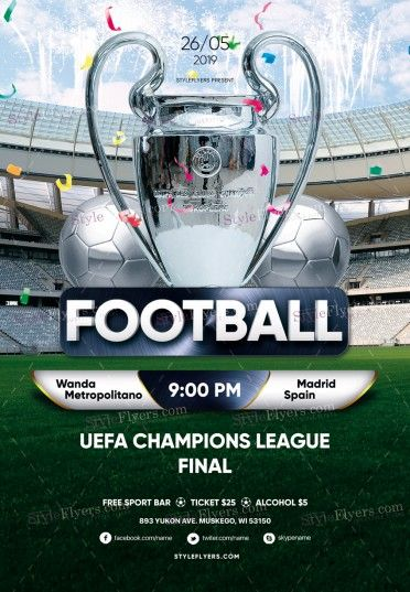 Football Uefa Champions League Final Psd Flyer Template Uefa
