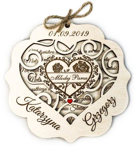 Serduszko Na Dzien Babci Dziadka Walentynki Grawer Wood Card Wedding Cards