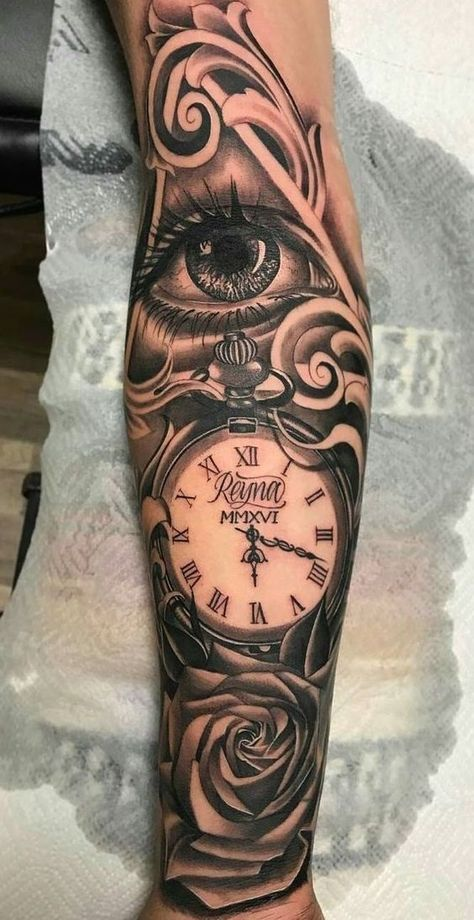 tattoo sleeve - Brenda O. - traditional tattoo sleeve – -traditional tattoo sleeve - Brenda O. - traditional tattoo sleeve – - Bamboo Tattoo Studio - Canadian home of tattoo realism illuminati eye, clock and a rose, forearm tattoo, roman.