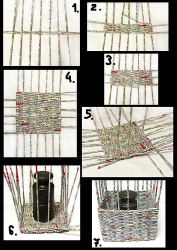 Ideas for using rolled newspaper or magazines to weave. No instructions but lots of examples. Paper Basket Diy, Paper Basket Weaving, Willow Weaving, Newspaper Basket, Newspaper Crafts, Diy Paper, Paper Clay, Recycled Paper Crafts, Recycled Magazines