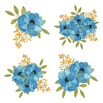 Watercolor Blue Rose Flower Bouquet Collection Watercolor Clipart Vintage Collection Png Transparent Clipart Image And Psd File For Free Download Blue Flower Painting Blue Flowers Bouquet Flower Illustration
