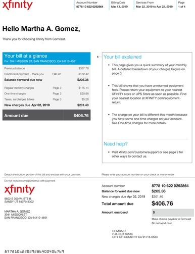 Utility Cable Bill Statement Monthly Provider Carrier Water