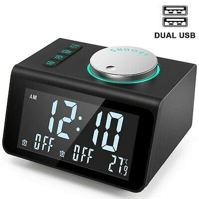 Anjank Small Alarm Clock Radio Fm Radio Dual Usb Charging Ports