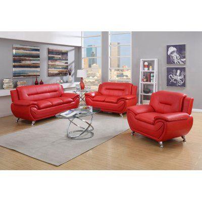 Orren Ellis Stcyr 3 Piece Faux Leather Living Room Set Wayfair In 2020 Affordable Sofa Leather Living Room Set Living Room Leather