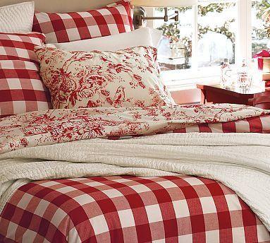 Pottery Barn Buffalo Check Duvet Cover Sham Home Red Decor Duvet Covers