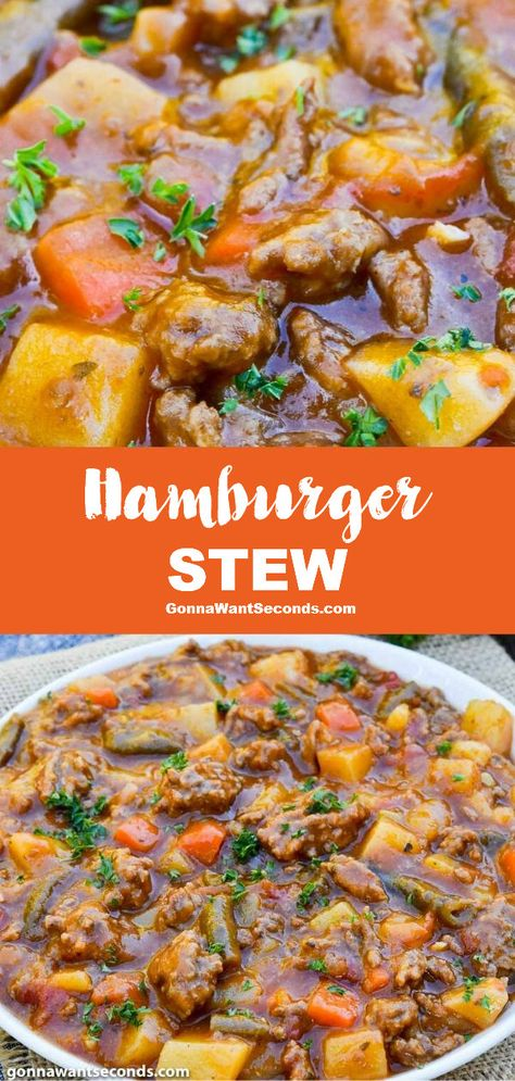 Hamburger Stew (One Pot Comfort Food!) - - Hamburger stew has plenty of wholesome veggies and rich layers of bold flavor making it the ideal cold-weather recipe to satisfy hearty appetites. Hamburger Stew, Hamburger Meat Recipes, Beef Recipes, Slow Cooker Recipes, Cooking Recipes, Hamburger Casserole, Pureed Recipes, Hearty Recipe, Hearty Soup Recipes