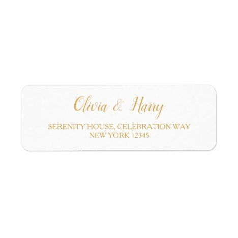 White Wedding Return Address Labels Gold Text Zazzle Com Wedding Return Address Labels Return Address Wedding Return Address Labels