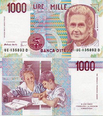 Lire Italy 1000 1,000 1990 P-114c Maria Montessori Unc