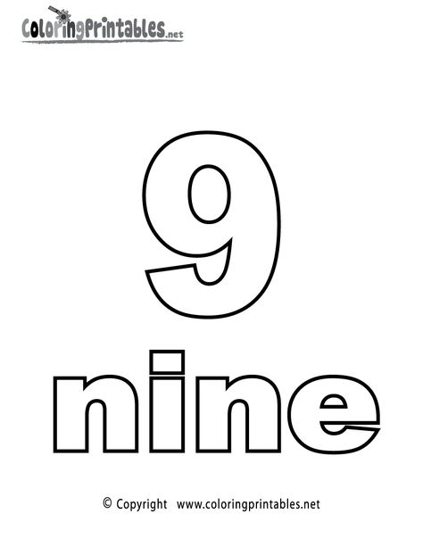 Number Nine Coloring Page A Free Math Coloring Printable Coloring Pages For Kids Coloring Pages Coloring Book App
