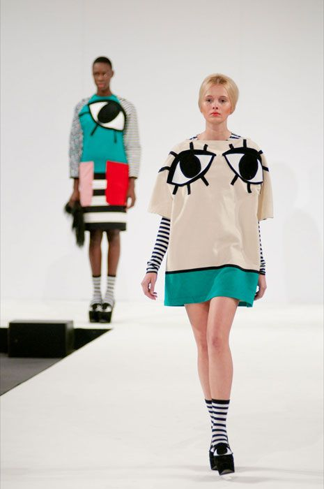 Fashion - this collection is designed by Joanna Pybus. She incorperated eyes into her designs.