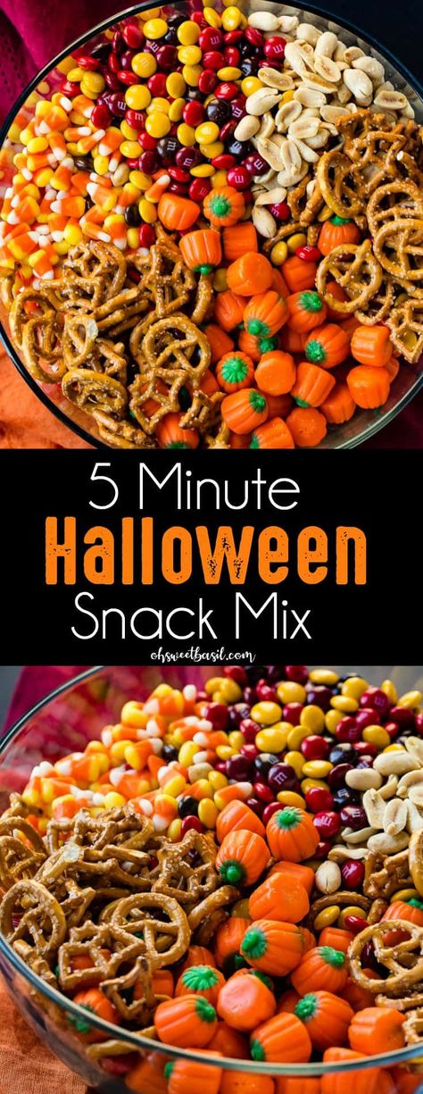 5 Minute Halloween Snack Mix Its almost here and I have no idea what to do about Halloween costumes but I do know that this 5 Minute Halloween Snack Mix is totally happening! The post 5 Minute Halloween Snack Mix appeared first on Halloween Desserts. Halloween Desserts, Halloween Snack Mix Recipe, Hallowen Food, Halloween Food For Party, Halloween Kids, Halloween Magic, Halloween Cupcakes, Halloween Stuff, Halloween Dessert Recipes