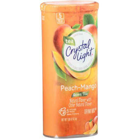 Crystal Light Peach Mango Green Tea Powdered Drink Mix Low Caffeine 1 85 Oz Can Walmart Com Mango Green Tea Peach Ice Tea Green Tea Drinks