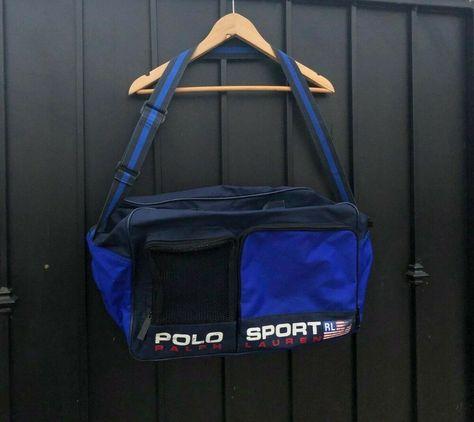 36782899a5 POLO SPORT RALPH LAUREN TRAVEL MESSENGER STRAP BAG BLUE   BLACK VTG 90 S   fashion