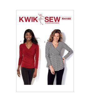 Kwik Sew Pattern K4188 Misses' Front - Crossover Tops - Size XS - S - M - L - XL