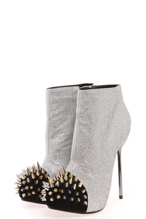 0bba9e19eb1 Silver glitter ankle boots with a metallic studded toe. How cute are these   So not worth the price though.