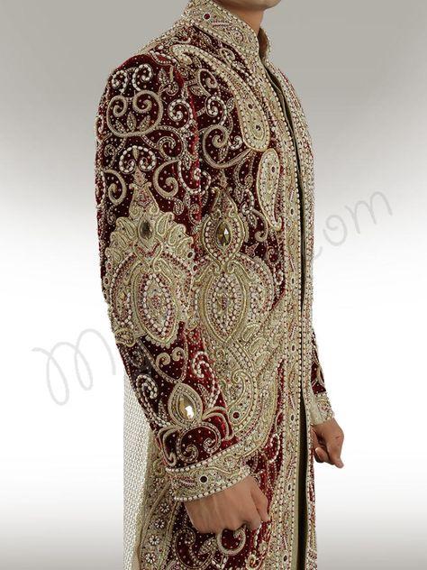 Designer velvet patch Sherwani - Sherwani - Men's