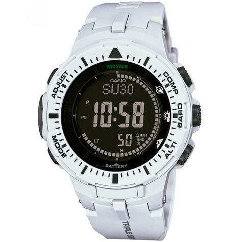 b371e8011f5b Reloj Casio de caja bisel y extensible tipo correa en resina color blanco   carátula digital triple sensor tough solar altímetro barómetro termómetro y  ...