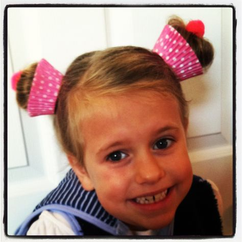 Cupcake hair - great for crazy hair day at school.