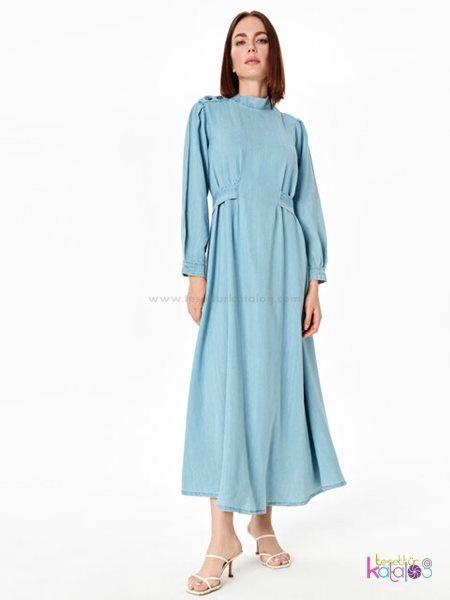 Belden Kusakli Uzun Duz Jean Elbise 2020 Elbise Moda Stilleri Gomlek Elbise