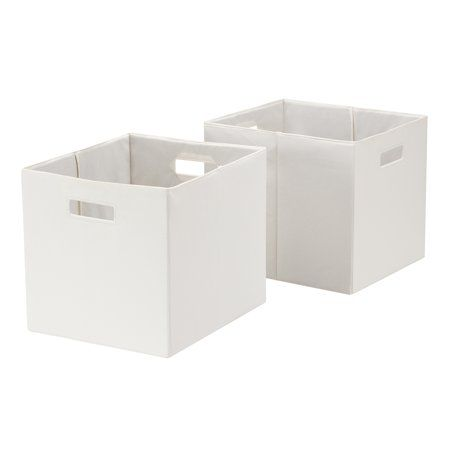 Better Homes Gardens Fabric Cube Storage Bins 12 75 X 12 75 Set Of 2 Vanilla Dream Walmart Com Cube Storage Storage Bins Cube Storage Bins