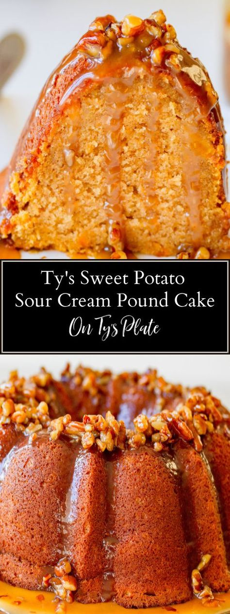Sweet potato sour cream pound cake is as decadent as it sounds. Flecks of sweet potato throughout topped with a luscious maple pecan praline sauce. | On Ty's Plate