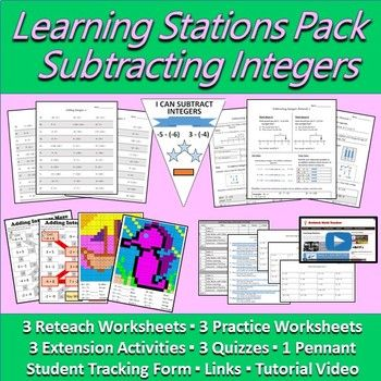 Subtracting Integers Learning Station - Resource Pack ...