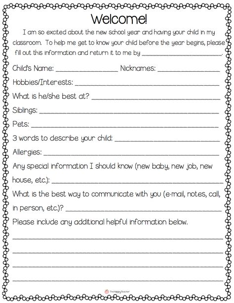 getting to know you form Teaching Pinterest Daycare forms - new leave letter format for kindergarten