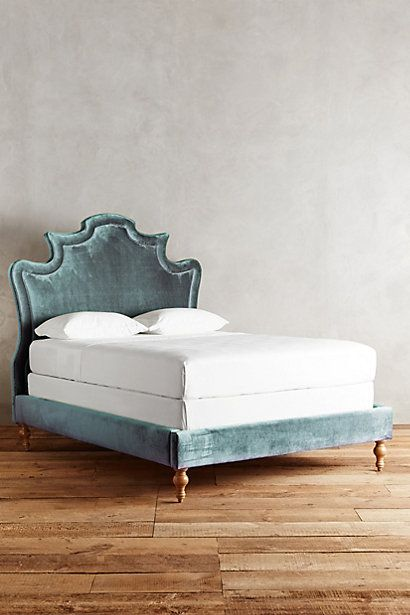 Can I have please? That purple though.... Slub Velvet Ainsworth Bed #anthropologie