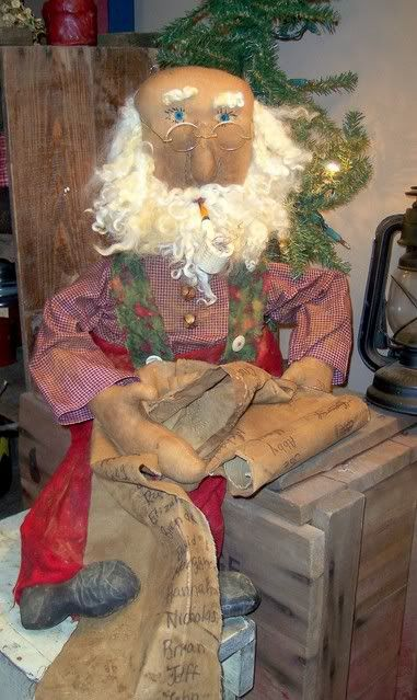 Santa and his list. Past creation. Crafted in 2010. :) Original Folk art by Meadow Fork Primitives