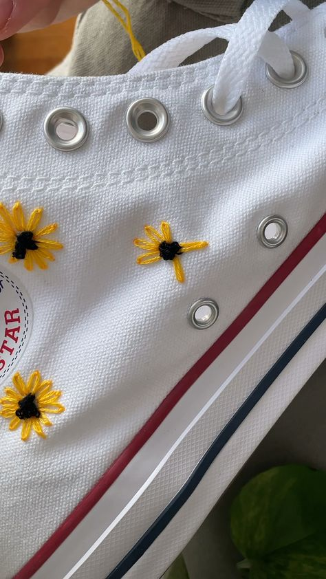 Sun flower embroidery on converse