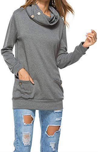 Generic Womens Cowl Neck Hoodie Long-Sleeve Pocket Casual Pullover Sweatshirt