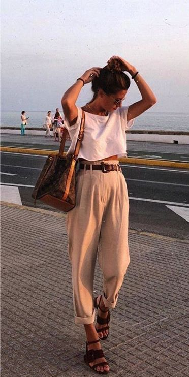 casual beautiful outfits high waisted belted trouser sandals white shirt t shirt tank crop top summer fashion
