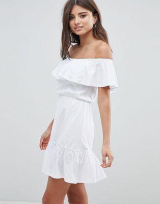 Asos Design Off Shoulder Sundress With Tiered Skirt Summer Dresses Maxi Dress Prom Shop Summer Dresses