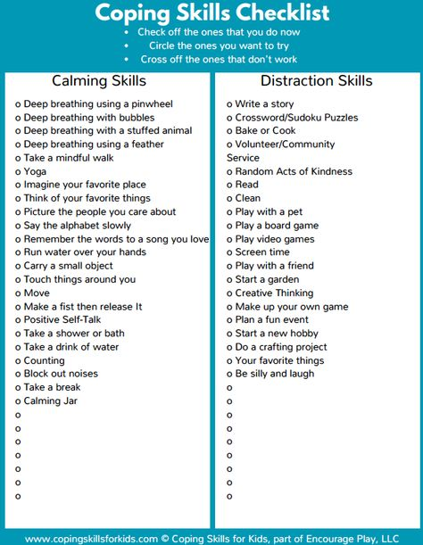 This is a free checklist to help kids identify coping skills they already use or ones theyd like to try. A longer checklist is available in our Workbook.