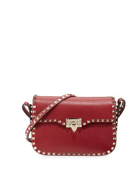f8a03f35698 Red Valentino Rockstud Leather Flap-Top Shoulder Bag, Scarlet (Red), Women's