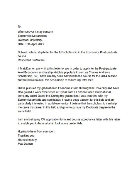 letter applying for education job application sample with bursary - scholarship acceptance letter