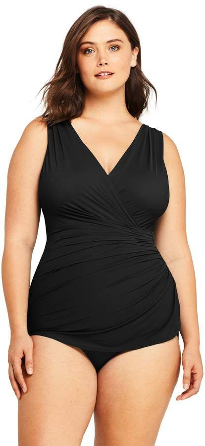 d0728d2bf0d Lands end Women s Plus Size Slender Surplice Tunic One Piece Swimsuit with Tummy  Control
