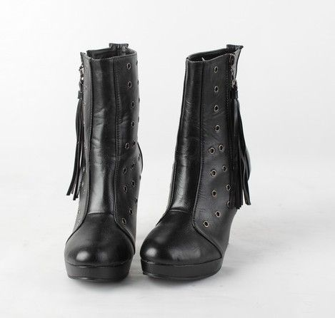 Tassel Zipper High Heel Boots Black