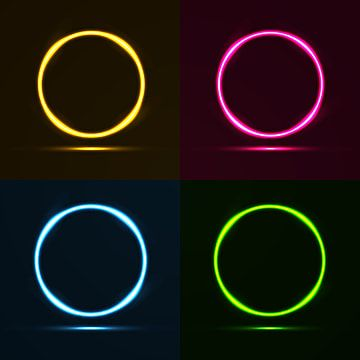 Neon Circle Border Frame Set Neon Border Colorful Png And Vector With Transparent Background For Free Download Colorful Frames Circle Borders Graphic Design Business