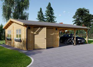 Garage En Bois 400x595 44mm Carport Double 550x595 57m