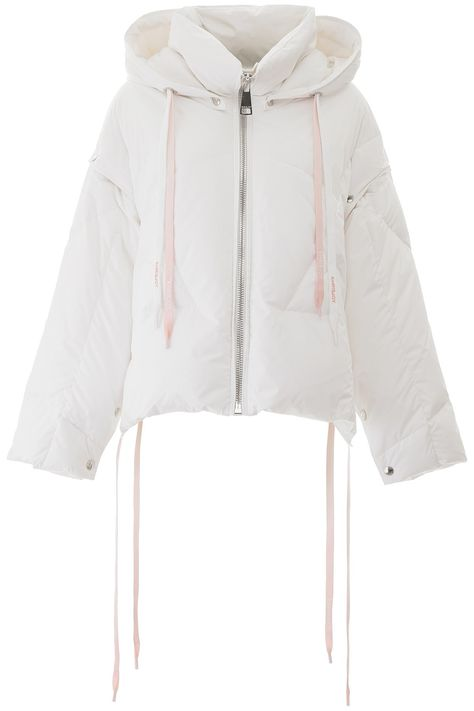Khrisjoy nylon puffer jacket with goose feather padding. It features a removable hood, multicolor drawstring, zip closure, side pockets, side snap buttons. Removable sleeves, nylon lining with printed logo. Model height is 177 cm and she is wearing a size 0.Gender: WomenMaterial: 100% polyesterColor: WhiteMade in: ItaliaProduct ID: 201917DPI000001-WH03
