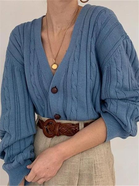 Casual Women's V-Neck Solid Color Knit Cardigan – linenlooks  This knit cardigan is so chic and  stylish, featuring v-neck with long sleeve.  top crochet,sweater styles outfits,sweater knit,outfit sweater  #topcrochet #tunicsweateroutfits #knitwearfashion #sweaterknit