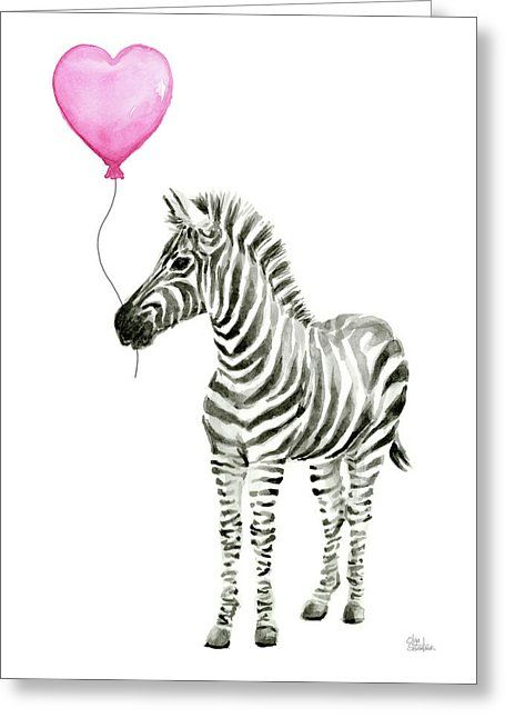 Zebra Watercolor Whimsical Animal With Balloon Greeting Card For