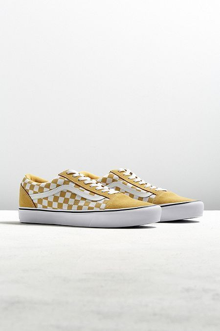 Vans Old Skool Lite Checkerboard Sneaker Vans Yellow Oldskool Checkerboard Shoes Sneakers Outfit Closet Vans Shoes Women Vans Shoes Mens Vans Shoes