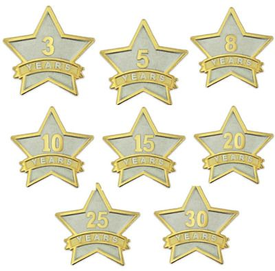 PinMart 8 Year Service Award Star Corporate Recognition Dual Plated Lapel Pin