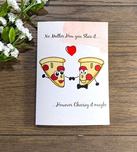 Pizza And Puns, Silly And Cheesy Happy Valentine's Day Handmade Greeting Card  | eBay