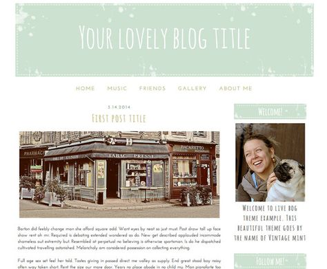 Premade Blogger Template Vintage Mint by GraphicCookies on Etsy
